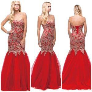 Dancing Queen Red & Gold Mermaid Formal Dress Sz S